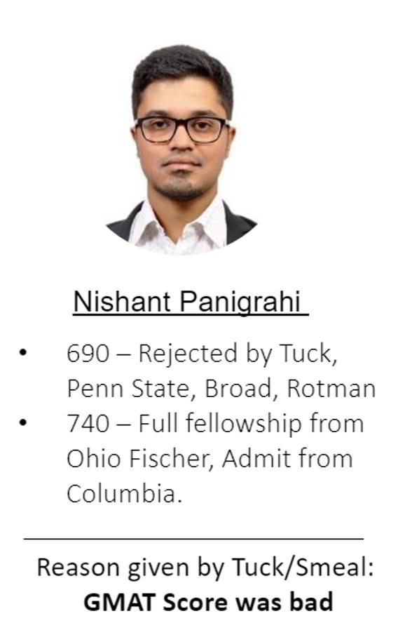 Nishant's GMAT score improvement from 680 to 740