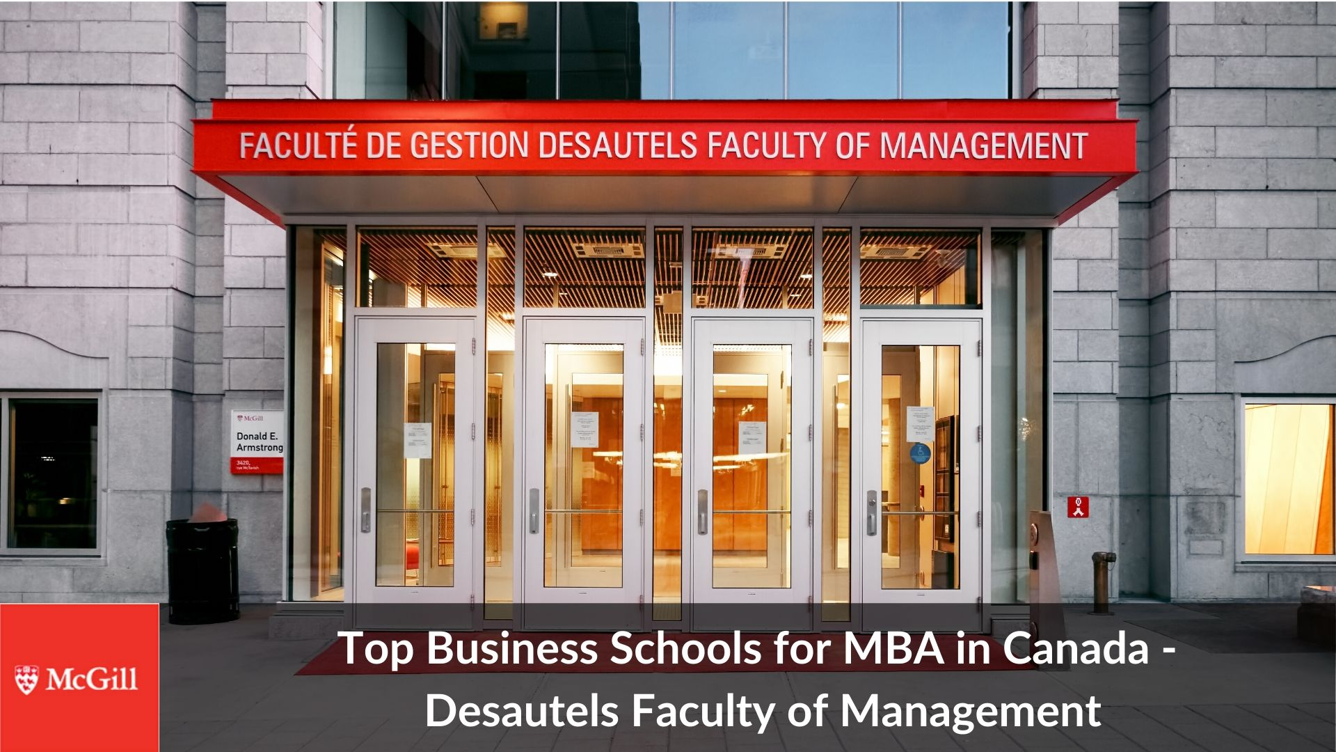 Top MBA universities in Canada -McGill Desautels Faculty of Management best colleges