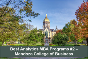 MBA in business analytics top programs #2 Mendoza College of Business