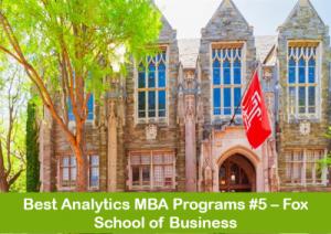 MBA in business analytics top programs #5 Fox School of business