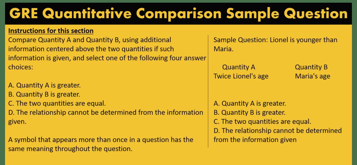 GRE Quantitative Comparison sample question