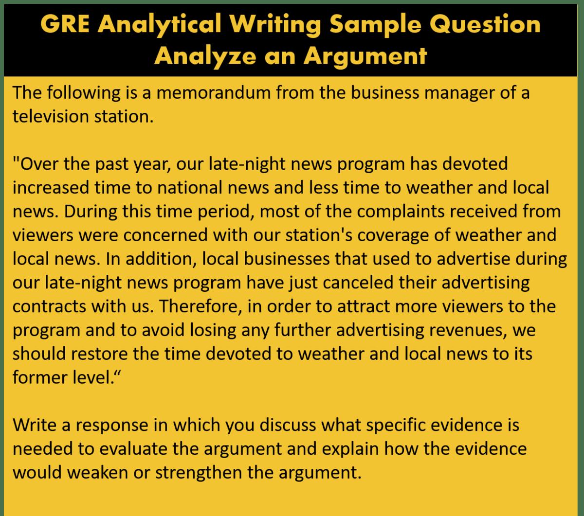 GRE exam pattern analytical writing