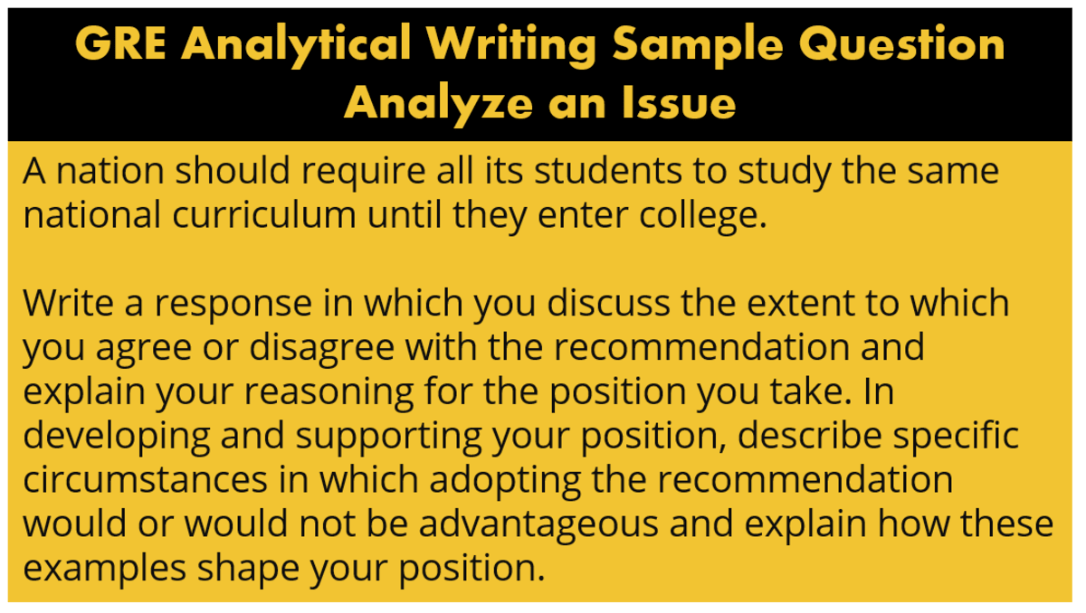 GRE analytical writing pattern and question