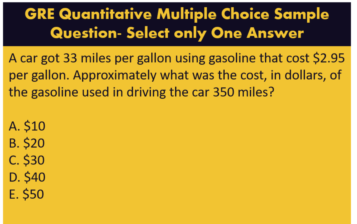 GRE multiple choice - select only one answer choice pattern