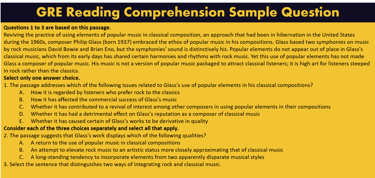 GRE Reading Comprehension question example