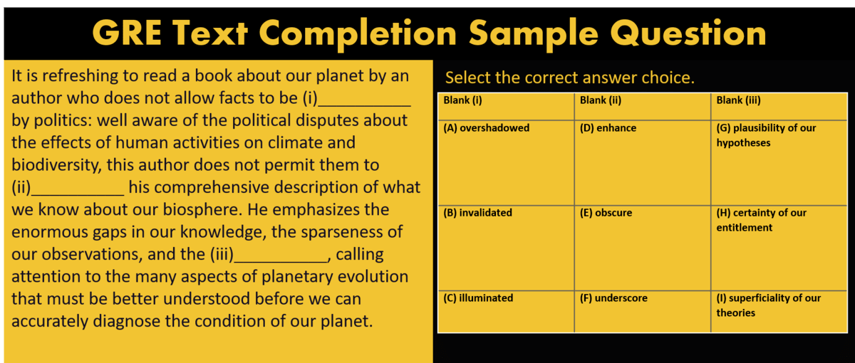 GRE Text completion question example