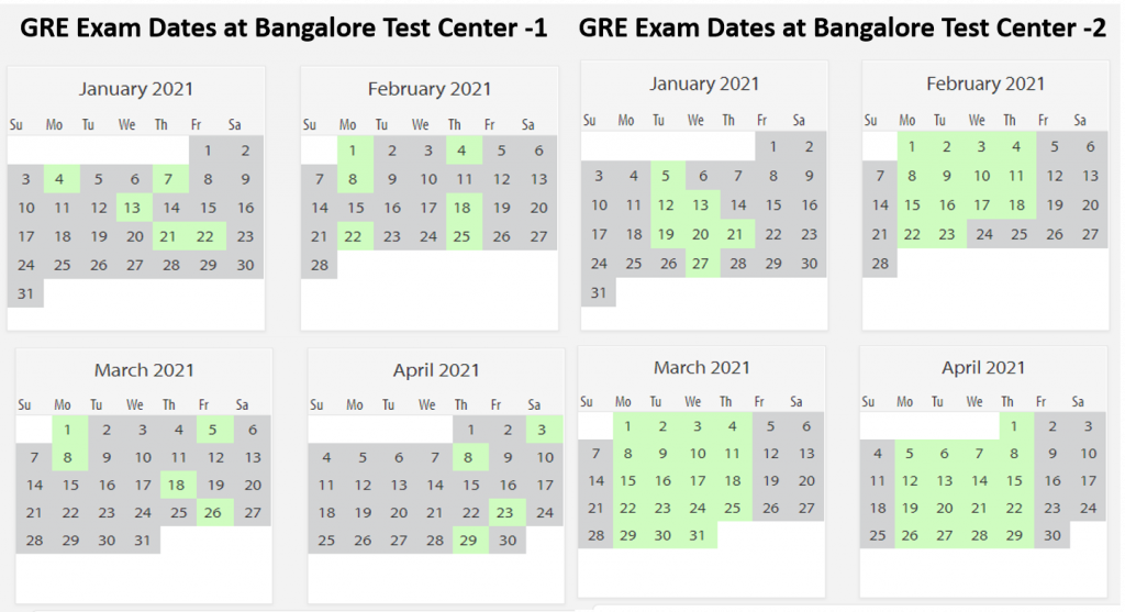 GRE exam dates Bangalore