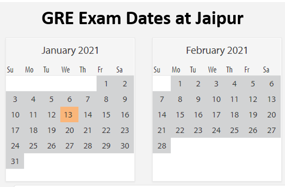 GRE Exam dates jaipur
