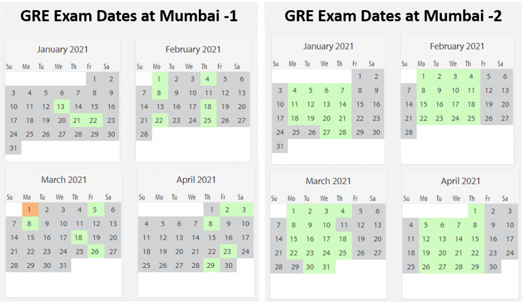 GRE exam dates Mumbai