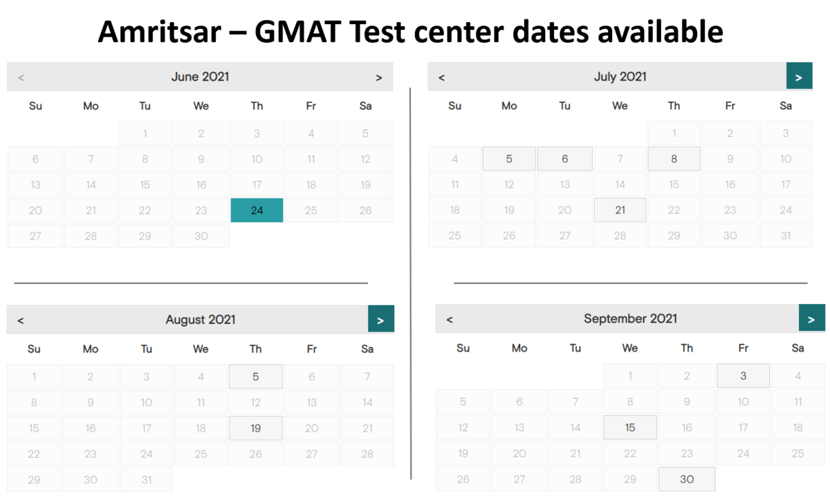 GMAT exam dates at Amritsar