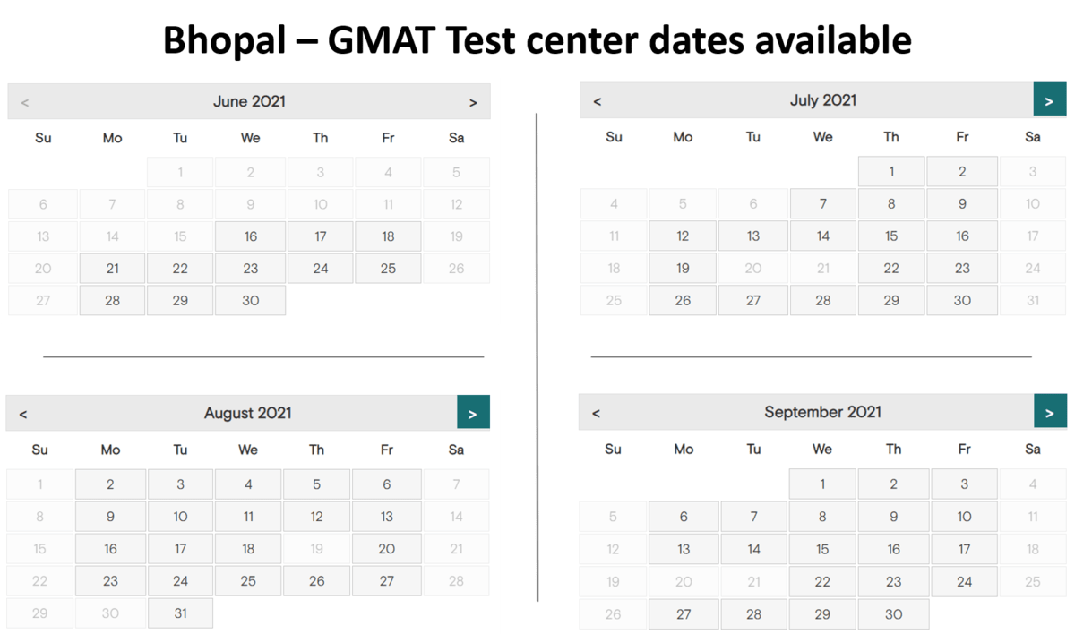 GMAT Exam dates Bhopal
