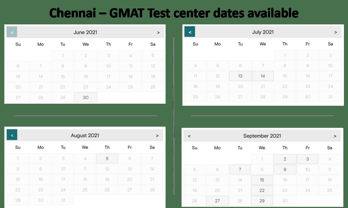 GMAT Test center dates - chennai
