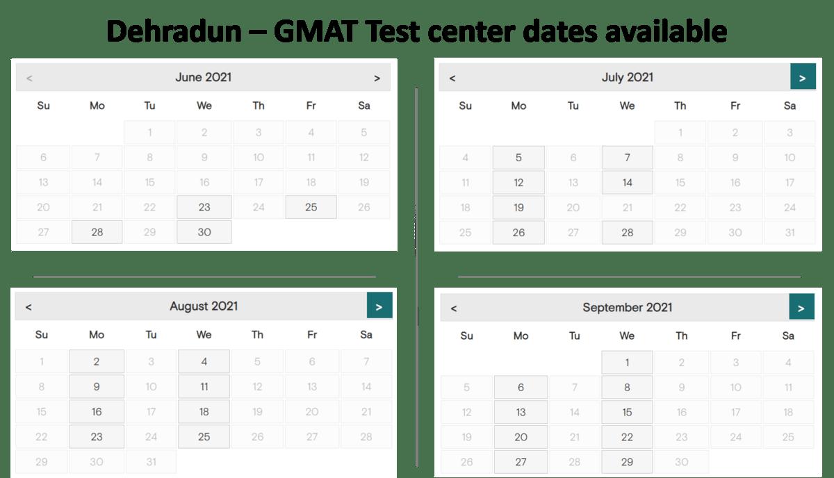 GMAT test center dates - Dehradun