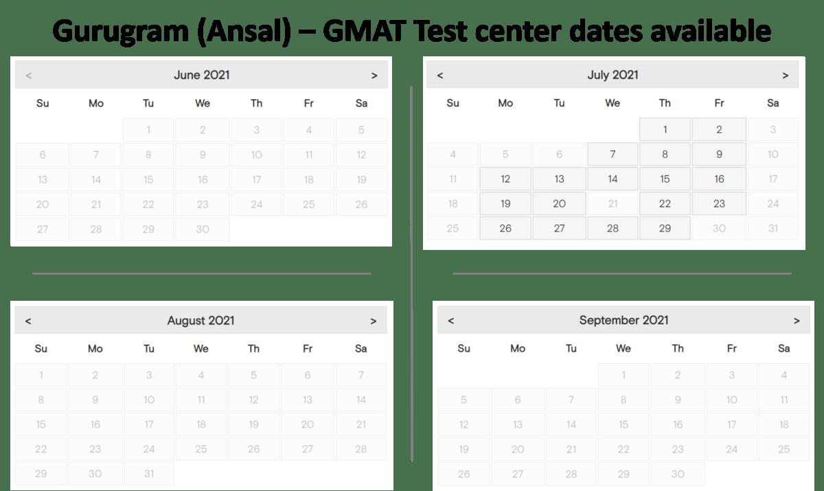GMAT test center dates - Gurugram - Ansal