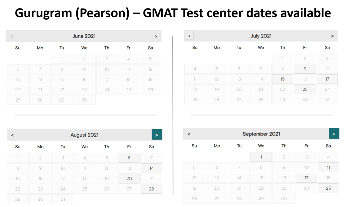 GMAT test center dates - Gurugram -Pearson