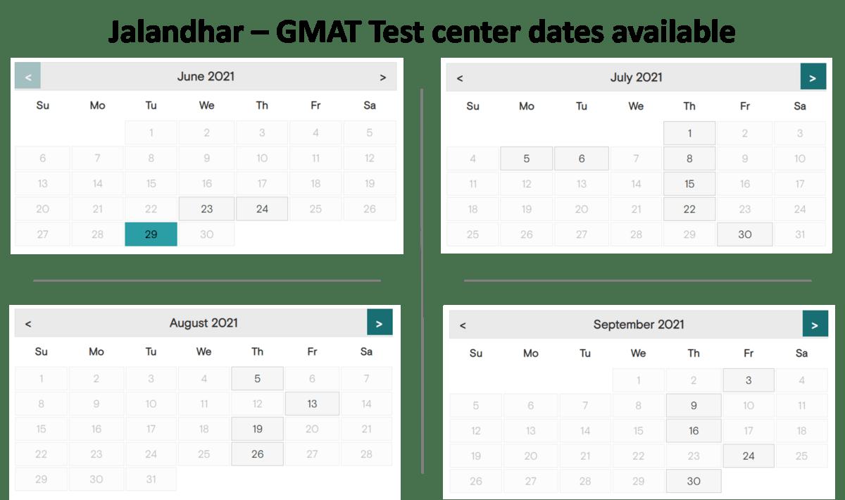 GMAT Exam dates - Jalandhar