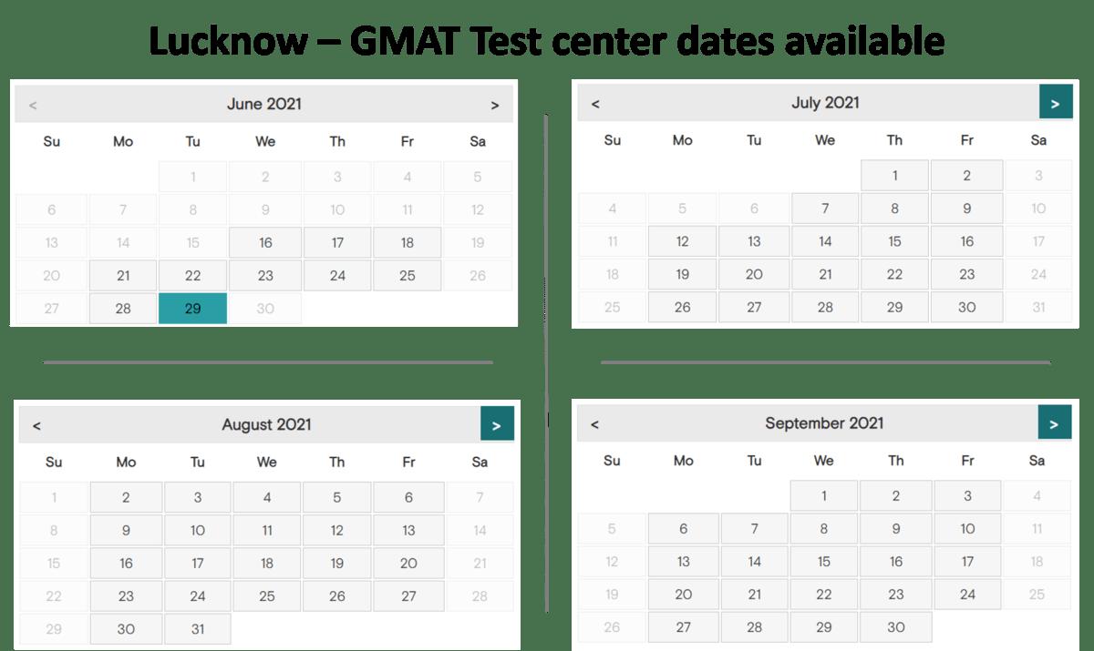 GMAT exam dates - Lucknow