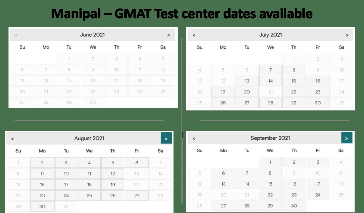 GMAT test center dates - Manipal