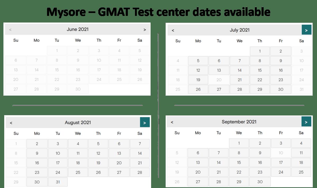GMAT exam dates - Mysore