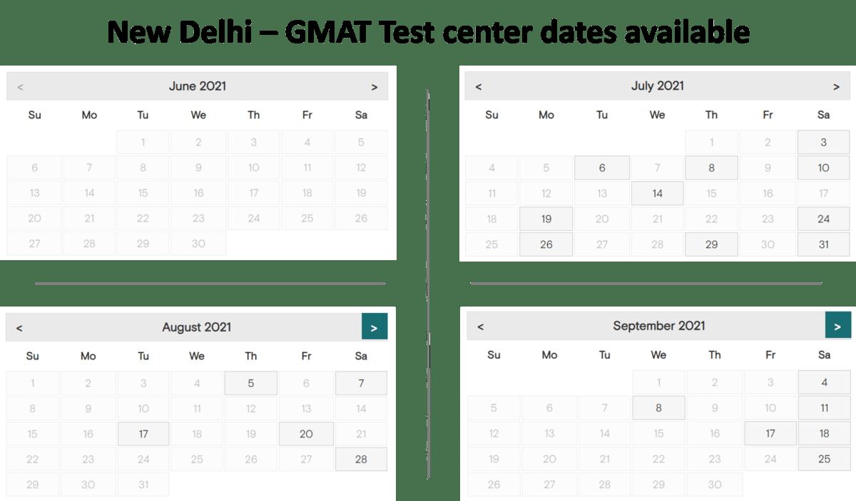 GMAT Exam dates - New delhi