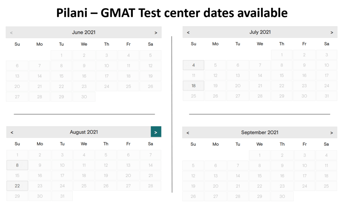 GMAT Exam dates - Pilani