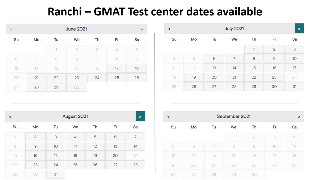 GMAT Exam dates - Ranchi