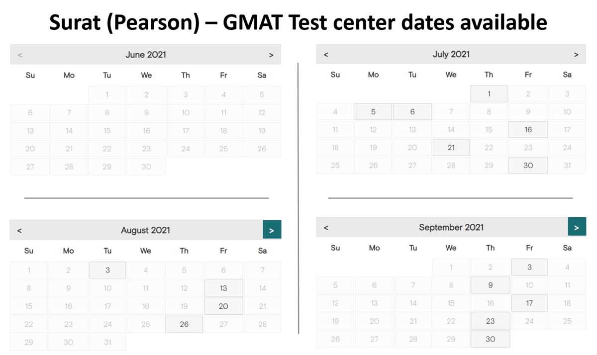 GMAT Exam dates - Surat - Pearson test center