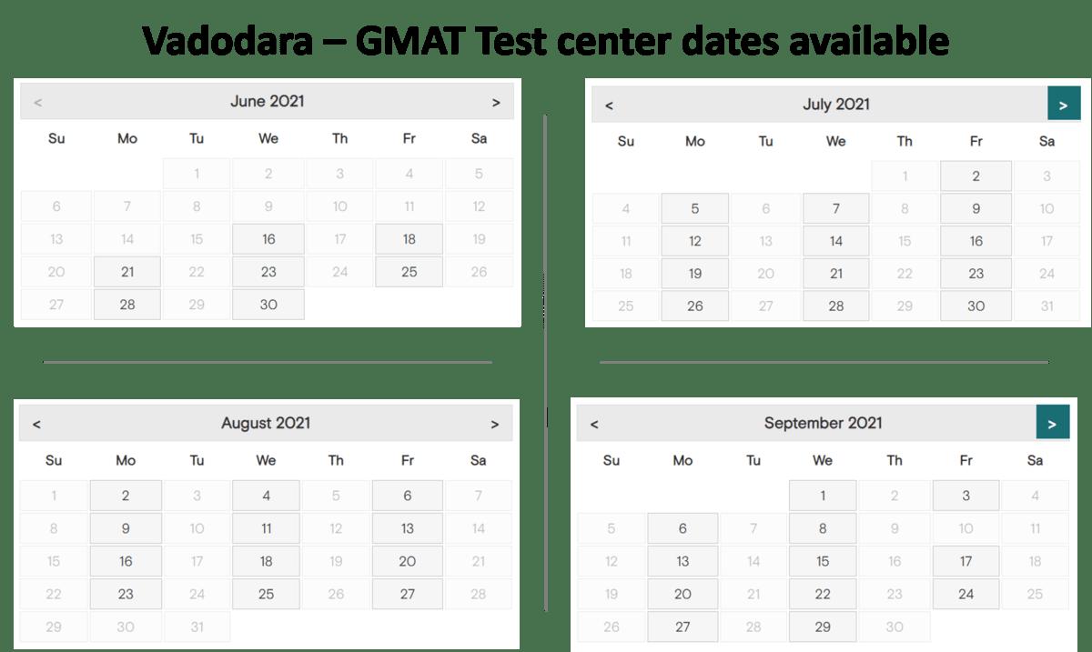 GMAT exam dates Varodara