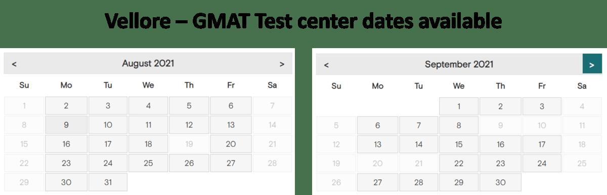 GMAT Exam dates - Vellore