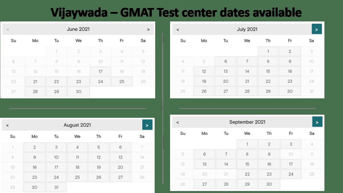GMAT Exam dates - Vijaywada