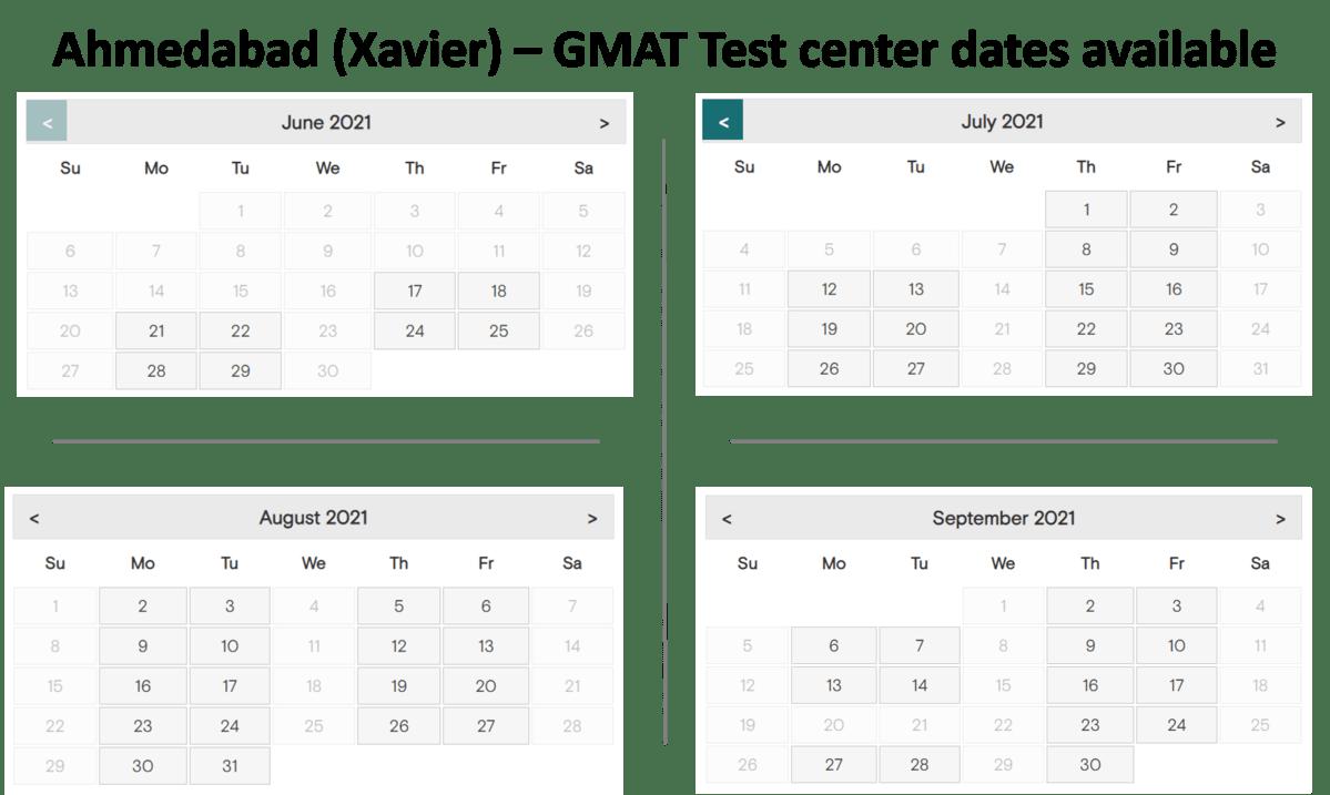 GMAT Exam dates Ahmedabad - Xavier