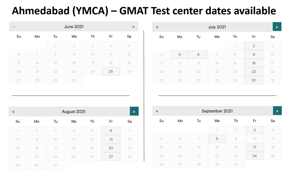 GMAT Exam dates - YMCA - Ahmedabad