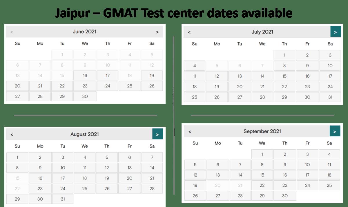 GMAT test center dates - jaipur
