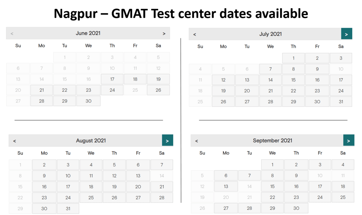 GMAT test center dates - Nagpur
