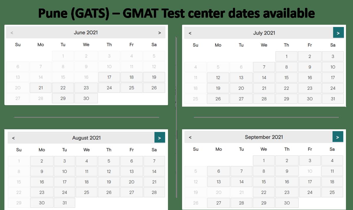 GMAT test center exam dates - Pune