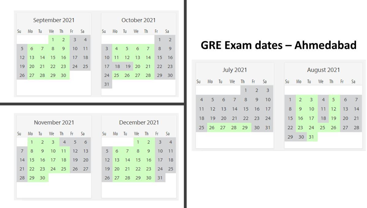 GRE Exam dates at Ahmedabad test center