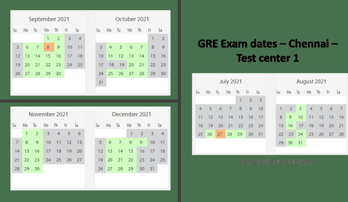 GRE Exam dates at Chennai Test center 1
