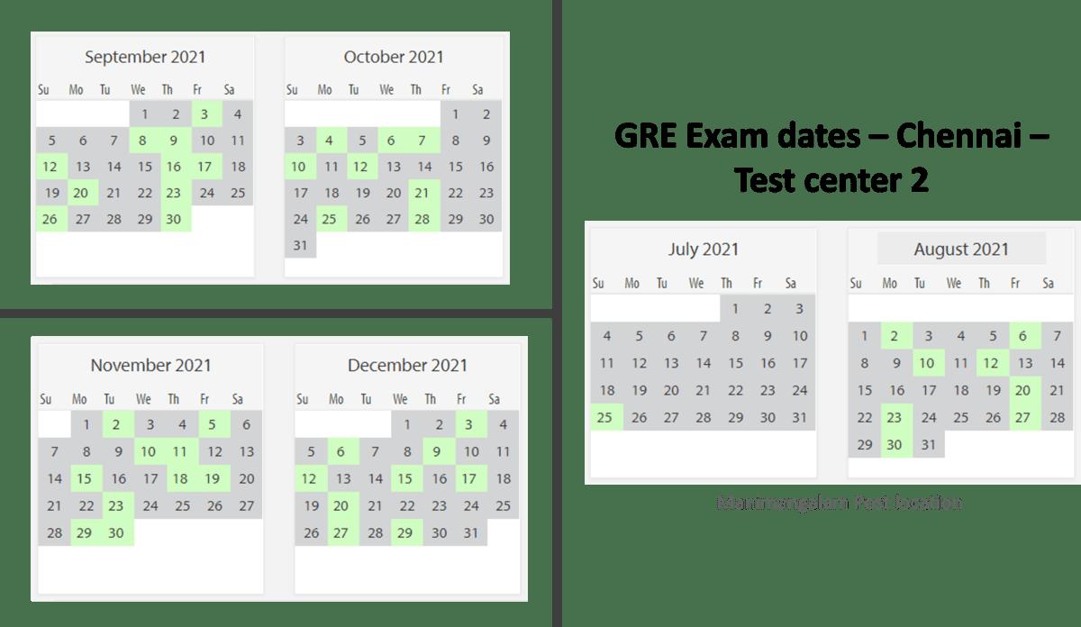 GRE exam dates at Chennai test center 2