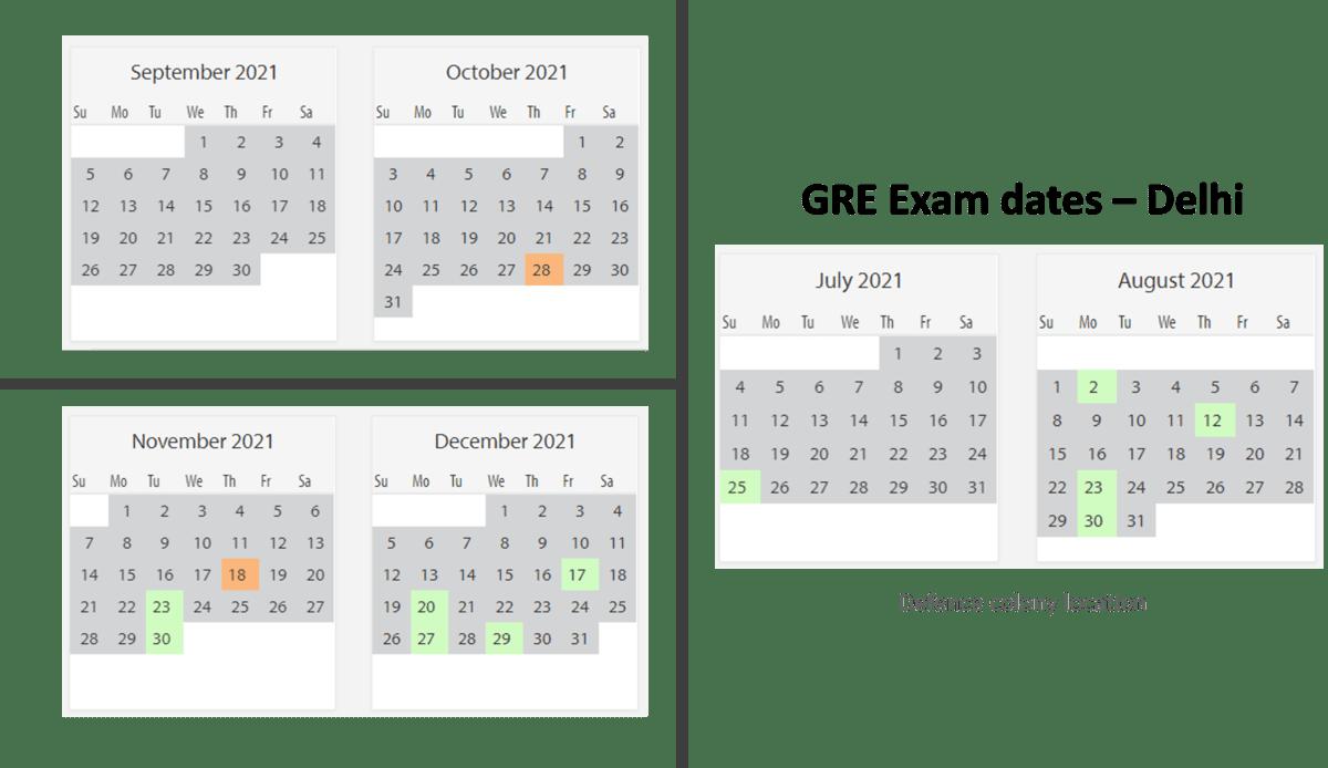GRE Exam dates at Delhi test center 1