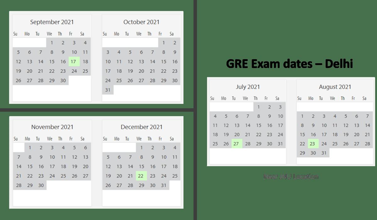 GRE Exam dates at Delhi test center 2