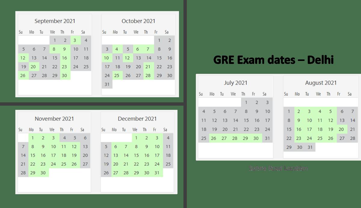 GRE Exam dates at Delhi test center 3