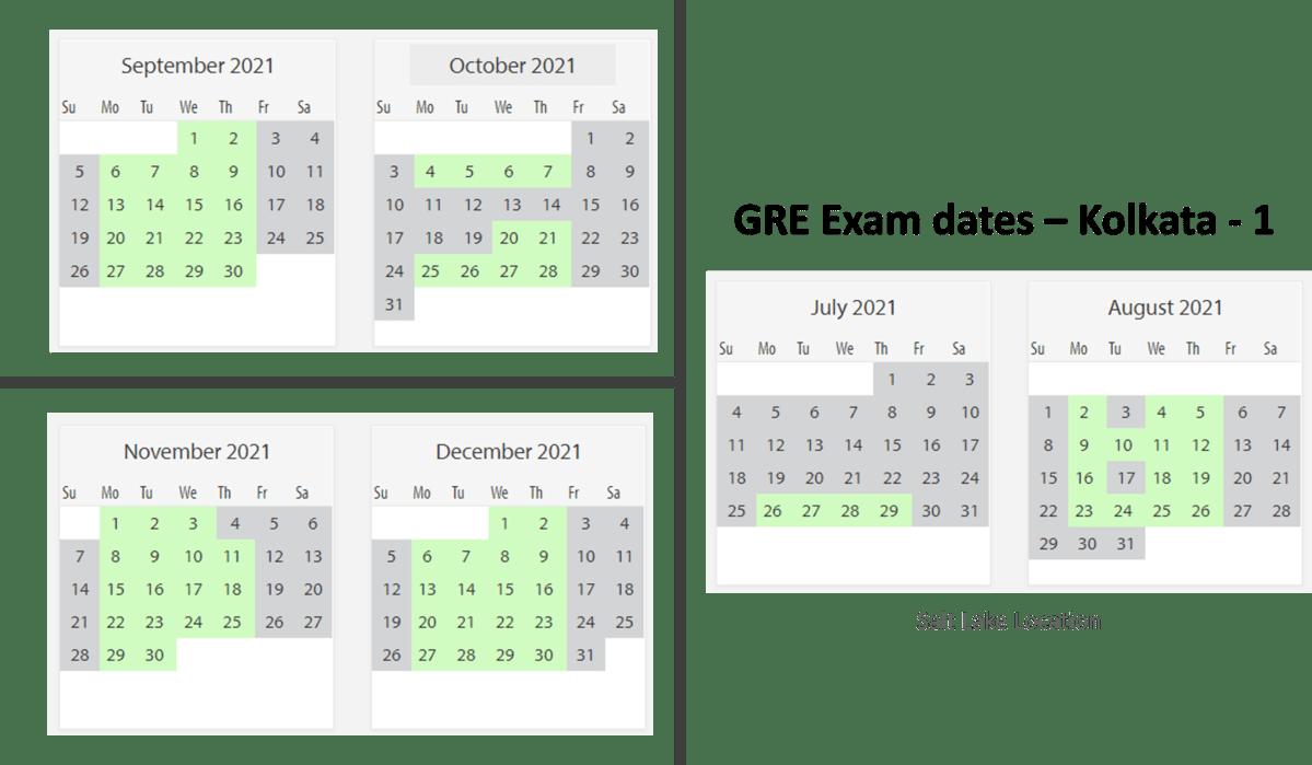 GRE Exam dates at Kolkata test center 1