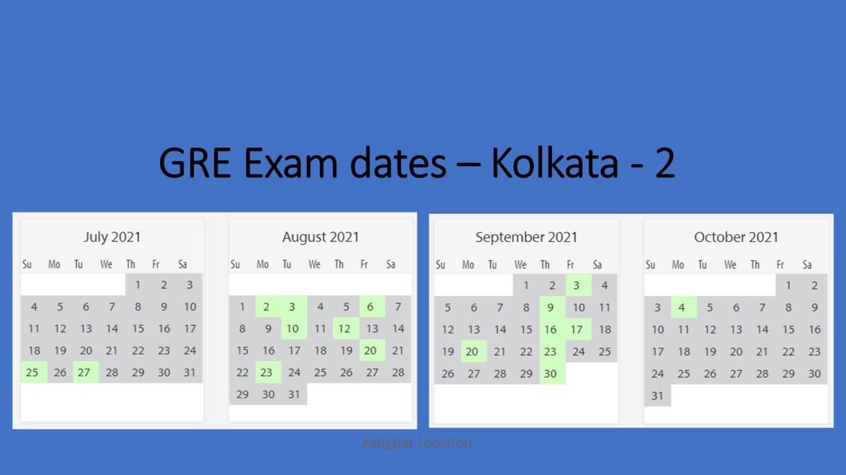 GRE Exam dates at Kolkata test center 2