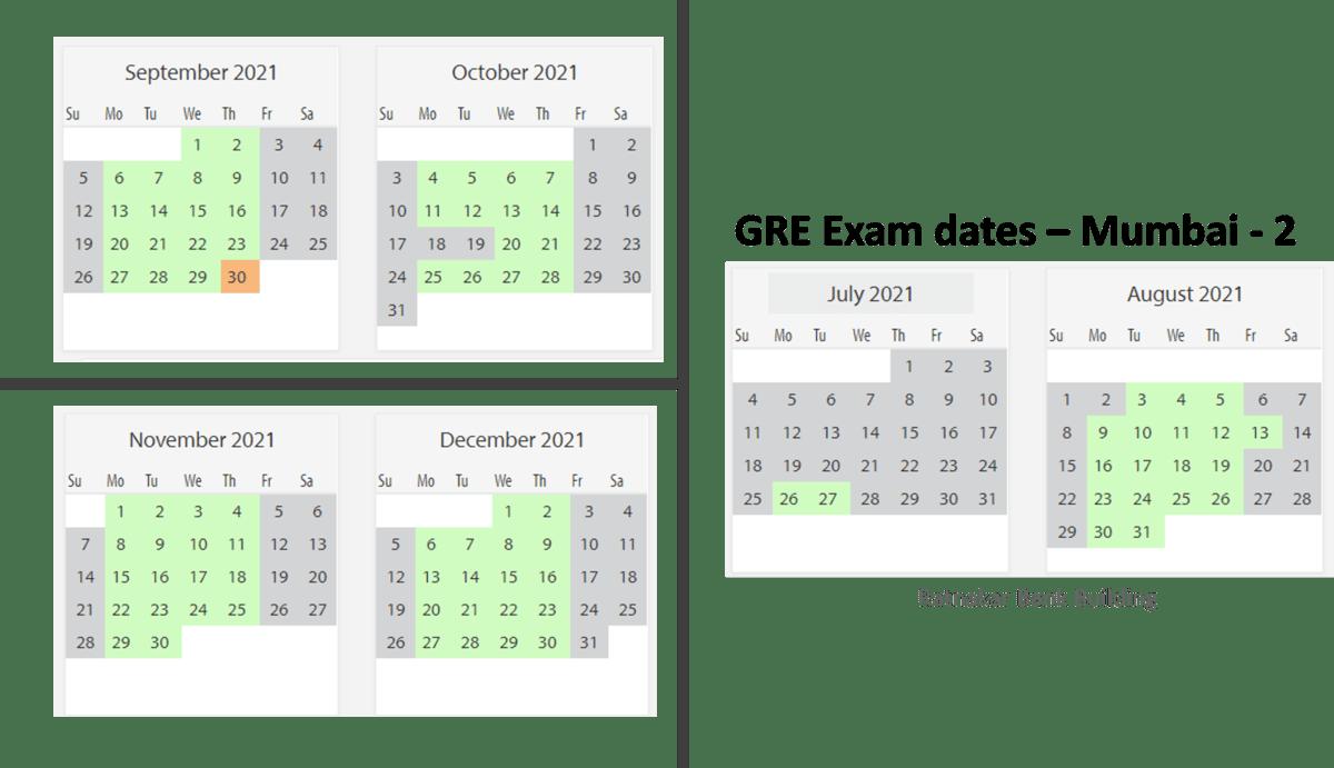 GRE exam dates at Mumbai test center 2