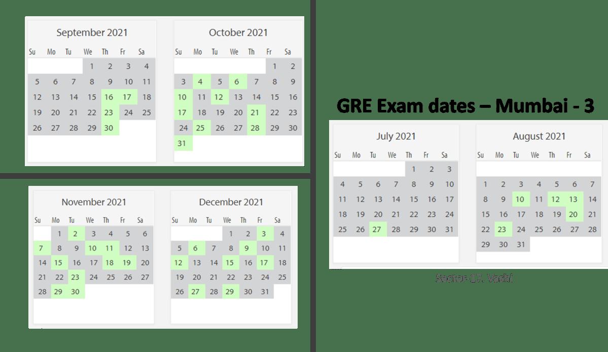 GRE exam dates at Mumbai test center 3