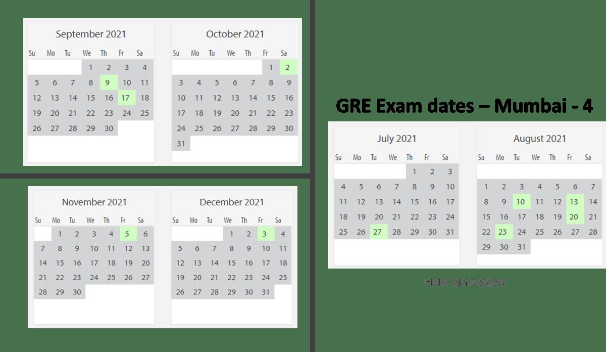 GRE exam dates at Mumbai test center 4