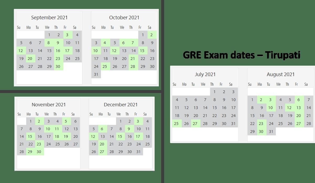 GRE Exam dates at Tirupati test center