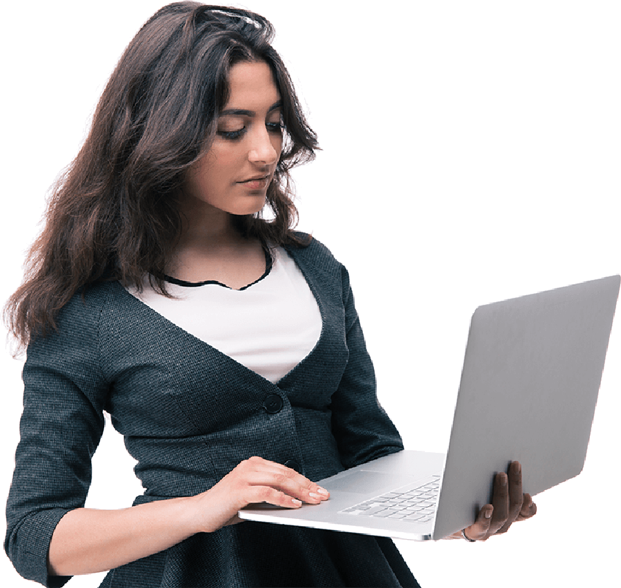 Lady contacting e-GMAT support on her laptop